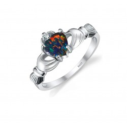 925 Sterling Silver Multicolour Opal Women's Ring