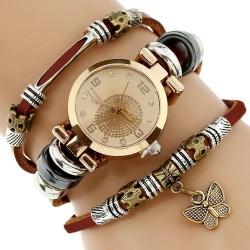 Reloj con Triple Pulsera y Charm Mariposa para Mujeres