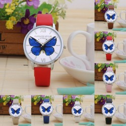 Butterfly Design Leather Quartz Women's Watch