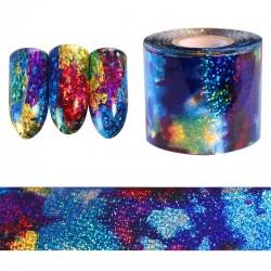 Gwiaździste niebieskie niebo - holograficzny papier - folia - naklejka na paznokcie - 1m