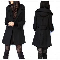 Woollen Slim Hooded Jacket Coat