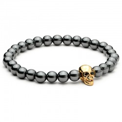 Black Hematite Stone Bead Skull Charm Bracelet