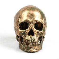 P-Flame Bronze Human Skull Resin Crafts Life Size 11 Model Modern Home Decor Imitation Metal Decora
