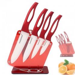 Keramische keukenmessen met rode greep incl. houder