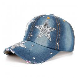 Modna Rhinestones Gwiazda Dżinsowa Bawełniana Czapeczka Baseballowa