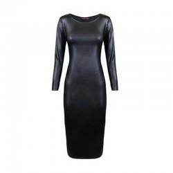 Faux Leather Long Sleeve Midi Dress