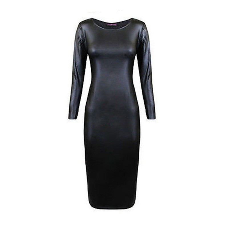 42047e88d120 Faux Leather Long Sleeve Midi Dress Buy  70% Discount!