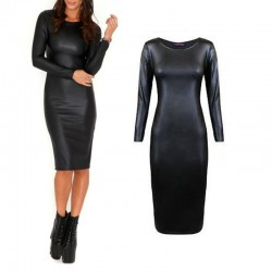 Faux Leather Long Sleeve Midi Dress