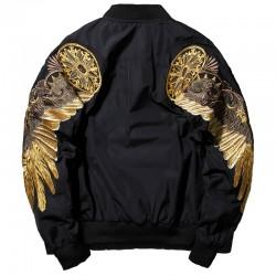Czarna kurtka bomber z haftowanymi złotymi skrzydłami