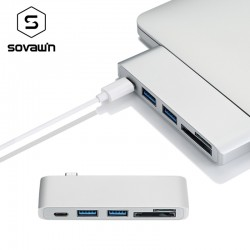 5 in 1 USB 3 Hub Multi Type C Splitter Adapter Card Reader