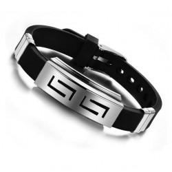 2017 Explosion models Fashion Wristband black Punk Rubber Silicone Stainless Steel Men Bracelets Ban