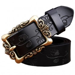 Fashion Wide Genuine leather belt woman vintage Floral Second Layer Cow skin belts for women Top qua