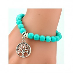 SHEEGIOR Boho Vintage Turquoises Bracelets for Women Men Cross Tree Snake Owl Hand Pendant Charm Bra