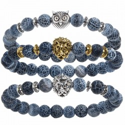 Tiger Lion Head Natural Stone Beads Bracelet Unisex