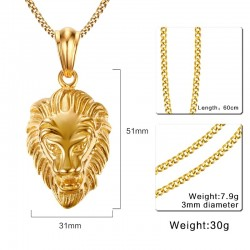 Vnox Lion Head Pendant Necklace Gold-color Mens Jewelry Stainless Steel Metal