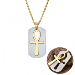 Removable Egyptian Ankh cross pendant stainless steel necklace