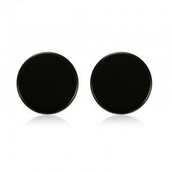 Round Black & Silver Stud Earrings