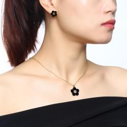 Retro Czarny Kwiat Zestaw Biżuterii