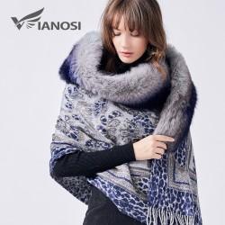 Luxus Echt Fox Pelzkragen Wolle Winter Schal Poncho