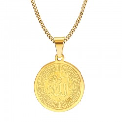 Allah Prayer Round Pendant Unisex Necklace