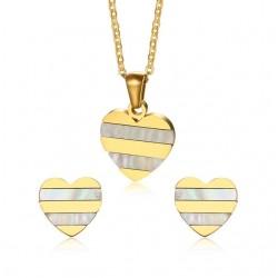Gold Herz Perle Ohrringe Halskette Schmuck-Set