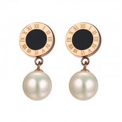 Simulierte Perle Römischen Ziffern Ohrringe