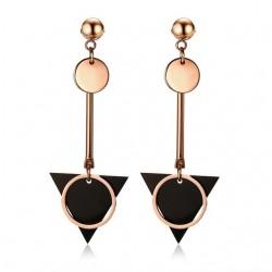 Double Circle & Triangle Long Earrings