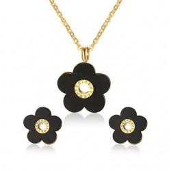 Conjunto de Joyas Retro con Flores Negras