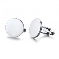 Stylish Round Stainless Steel Cufflinks