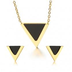 Bijoux Triangulaires Set Collier et Boucles d'Oreilles