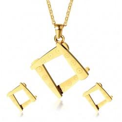 Unregelmäßige Quadratische Form Halskette & Ohrringe Schmuck Set