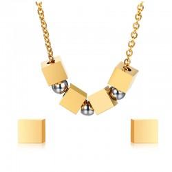 Kwadraty & Kulki Stylowy Zestaw Biżuterii