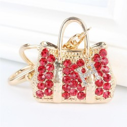 Red Crystal Handbag Keychain Keyring