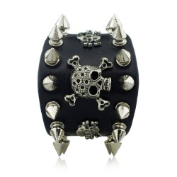 Spikes Rivet Gothic Skull Leather Bracelet Unisex
