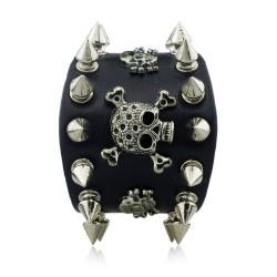 Unique Rock Spikes Rivet Gothic Skeleton Skull Punk Biker Wide Cuff Leather Bracelet S059