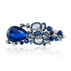 Groß Blau Kristall Blumenhaar Clip Haarnadel