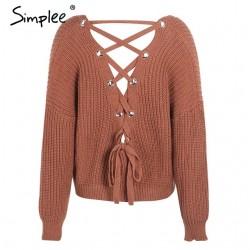 Backless Strickpullover Schnür Pullover