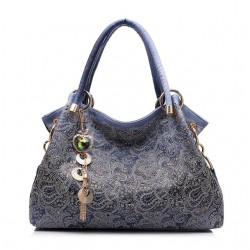 Leather Hollow Out Floral Print Bag