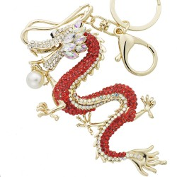 Crystal Dragon Key Ring Keychain