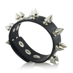 Unisex Rock Cone Stud Spikes Rivet Gothic Punk Wide Cuff Leather HipHop Bangle Bracelet S060