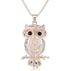 Sparkling Crystal Owl Pendant Necklace