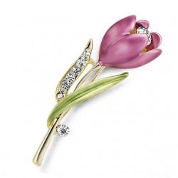 Elegancki Kryształowy Tulipan Broszka
