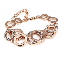 Veellaagse Symmetrie Cirkel Schakel Bergkristal Armband