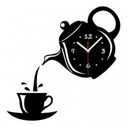 Lustrzany Efekt Zegar Ścienny W Kształcie Filiżanki Kawy