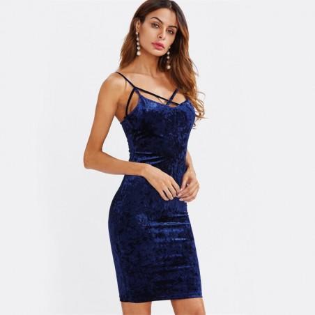 Strappy Cross Velvet Dress