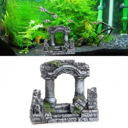 Aquarium Fish Tank Decoration Resin Rome Square Stone Pillars