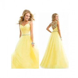 Long Chiffon Elegant Yellow Dress