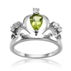 925 Sterling Silberner Natursteinkronen Ring