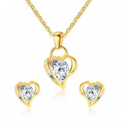 Vnox Love Heart Necklace and Earrings Jewelry Sets for Women Hollow CZ Stone Jewelry Sets for Engage