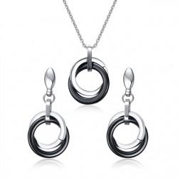 Czarne ceramiczne okrągłe kolczyki i naszyjnik - zestaw biżuterii